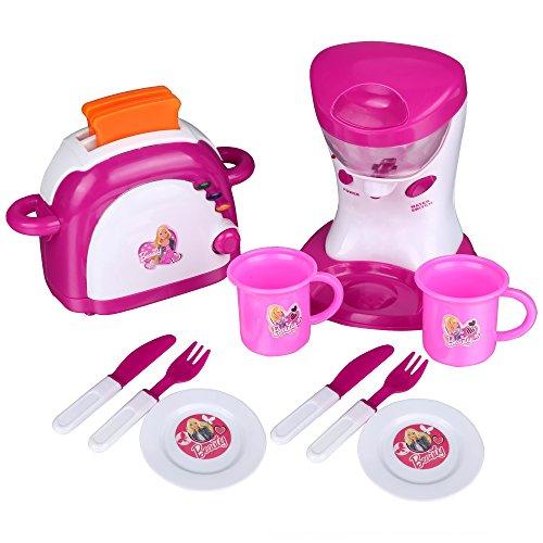 Preisvergleich Produktbild Teamyy Kinderküche Toaster und Mixer Spielküche Set Rosa elektronisch mit Musik und Licht 24pcs Zubehör Spielzeug ab 3 Jahren