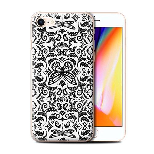 Stuff4 Hülle / Case für Apple iPhone 8 / Schwarz / Weiß Muster / Insekten Muster Kollektion Schwarz / Weiß