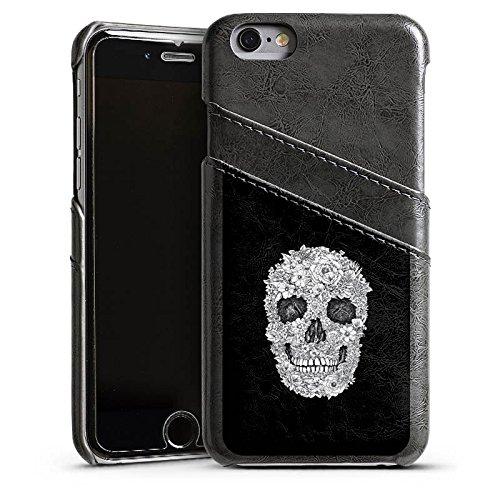 Apple iPhone 4 Housse Étui Silicone Coque Protection Tête de mort Crâne Fleurs Étui en cuir gris