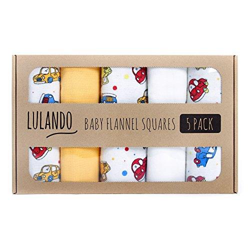 LULANDO Stoffwindeln und Moltontücher 70x80cm (5er Set). Waschbare Windeln und Spucktücher für Ihr Baby. Farbe: Autos