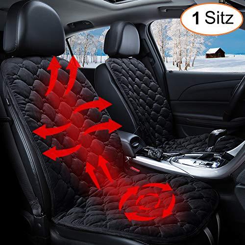 STYLINGCAR Sitzheizung Auto Sitzkissen Beheizbar Sitzauflage schwarz/Kaffee + Steckdose, für Fahrersitz, Beifahrersitz, Rücksitz (1 schwarzes Vordersitzkissen) (Auto Sitzheizung)