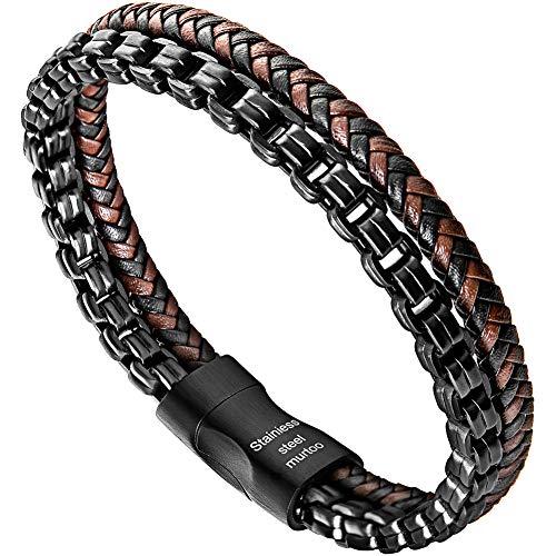 murtoo Armband Männer Lederarmband mit schwarz Silber Edelstahl Magnetverschluss aus Edelstahl Herren (Leder braun&Edelstahl) Leder Magnetverschluss