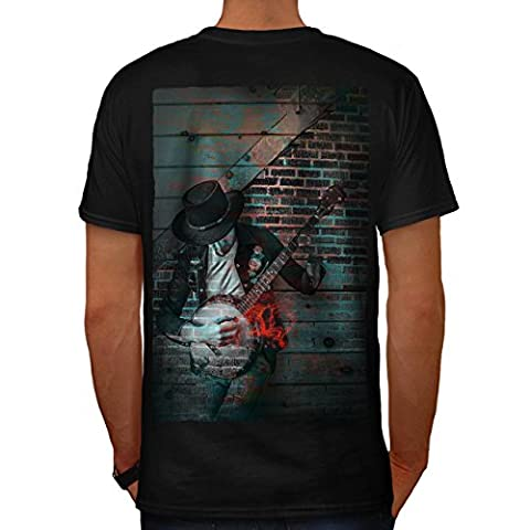 Straße Kunst Graffiti Musik amerikanisch Gitarre Herren M T-shirt Zurück | Wellcoda