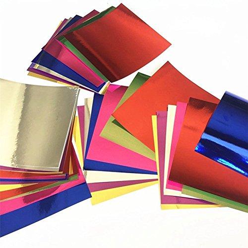 LAMEIDA Faltpapier 50 Blätter Papier Origami Square doppelseitig und Glitter Papier einfache Handarbeit Handwerk Aluminiumfolie Origami Spiegel zufällige Farbe 15 * 15 cm -
