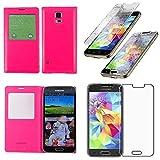 ebestStar - Cover Compatibile con Samsung S5 Mini Galaxy SM-G800 G800F G800H Custodia Portafoglio Protezione Libro Flip Finestra View, Rosa + Vetro Temperato [Apparecchio: 131.1x64.8x9.1mm 4.5']