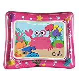 Docooler Baby Play Mat, 50 * 60cm Baby Colorful Inflatable Water Play Mat Tummy Time Infant Fun Mat Child Development Play Center with Hand Inflator Pump for 4~6 Years Old Infants-Pink