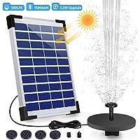 AISITIN 5.5W Solar Springbrunnen Upgraded Solar Teichpumpe mit Solar Panel Eingebaute Batterie Wasserpumpe Solar Schwimmender Fontäne Pumpe mit 6 Fontänenstile für Garten Vogel-Bad Teich