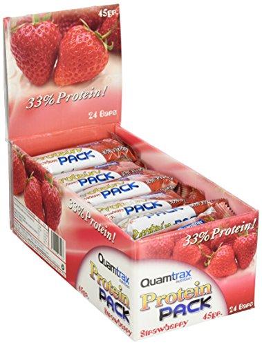 Quamtrax Nutrition - Caja Protein Pack, Sabor a Fresa, 24 Barritas