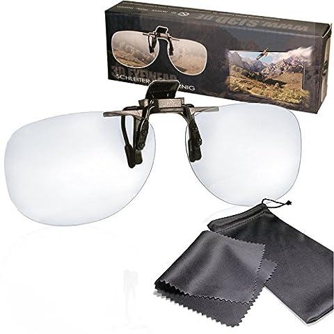 SJ3D Passive 3D Brille – 3D Brillen Clip VERSION 1- Aufsatz für Brillenträger - Polfilterbrille zirkular polarisiert - Für RealD 3D Kino & TV: LG Cinema 3D Philips Easy 3D Telefunken Toshiba 3D Natural Vizio 3D und 3DTVs von SONY Grundig Panasonic Hisense CMX uvm. - Inkl. Mikrofaser Brillenbeutel und