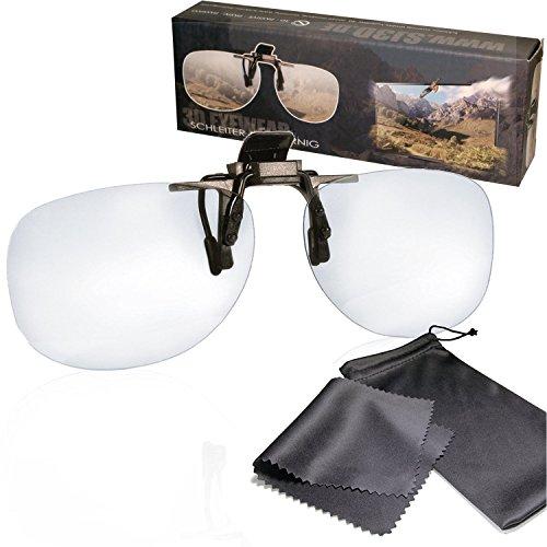 SJ3D Passive 3D Brille - 3D Brillen Clip VERSION 1- Aufsatz für Brillenträger - Polfilterbrille zirkular polarisiert - Für RealD 3D Kino & TV: LG Cinema 3D Philips Easy 3D Telefunken Toshiba 3D Natural Vizio 3D und 3DTVs von SONY Grundig Panasonic Hisense CMX uvm. - Inkl. Mikrofaser Brillenbeutel und Putztuch