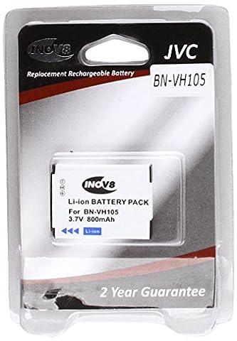 Inov8 Lithium Batterie appareil photo numérique RCB JVC BN-VH105EU, BN VH105EU, 800mAh 3.7V (pack de 2)