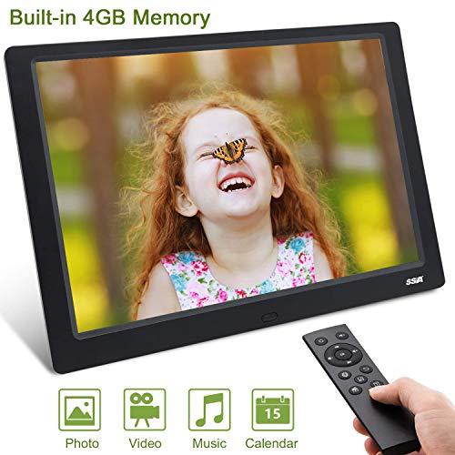 """Digitaler Bilderrahmen, SSA 10.1 \""""1280x800 Hochauflösender voller IPS-Foto- / Musik- / Video-Player Kalenderalarm EIN/Aus-Timer, einzigartiges UI-Design mit Fernbedienung"""