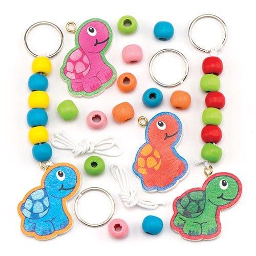 """Schlüsselanhänger-Bastelsets """"Schildkröte"""" aus Holz für Kinder zum Dekorieren – Kreatives Bastelset (4 Stück)"""