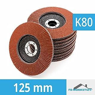 10 Stück Standard Fächerscheiben 125 mm Körnung 80 Fächerschleifscheibe Braun Schleifmopteller Lamellenschleifscheibe