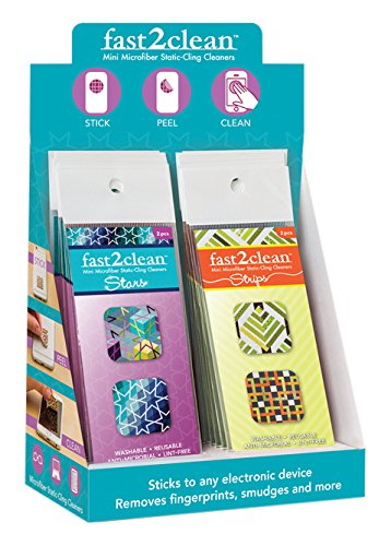fast2clean (TM) Stars & Strips Mini Microfiber Static-Cling Cleaners POP Display -