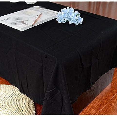 ZHEN Tovaglie di lino e cotone tinta unita moderno e semplice , black , 90*140