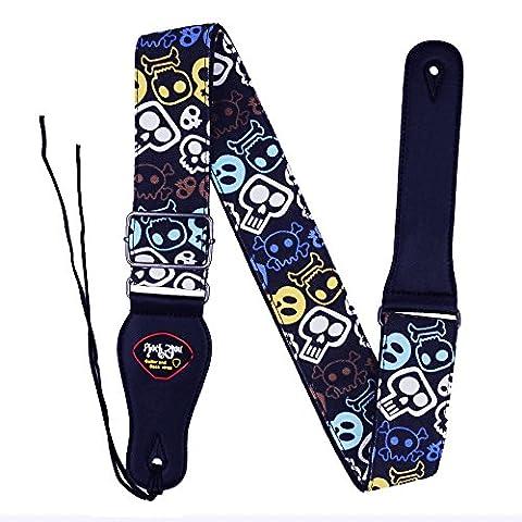Rayzm Sangle en Coton pour Guitare Acoustique/électrique ou Basse, avec Porte-médiators et Motifs Cranes, 5cm de Largeur et Longueur Réglable de 96cm à 153cm - Moderna Basso Elettrico