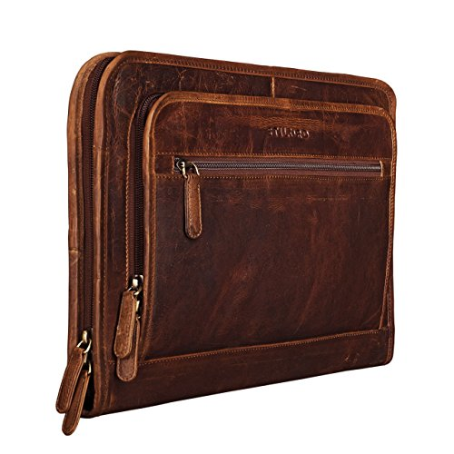 be5c152bc1 STILORD 'Maximilian' Cartella Portadocumenti A4 in pelle vintage Borsa per  tablet Custodia rigida per PC e Macbook 13,3 Portablocchi con cerniera Zip,  ...