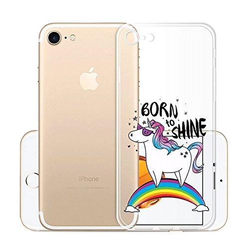Custodia Cover Per Apple iPhone 8 / iPhone 7, WenJie Arcobaleno Unicorn Trasparente Silicone Sottile Back Case Molle di TPU Trasparente per Apple iPhone 8 / iPhone 7 WM110