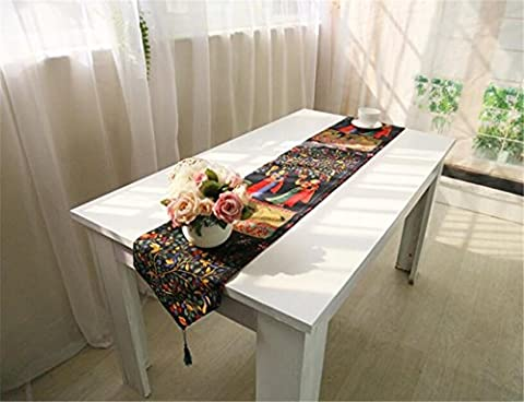 ZWZT Cotton and linen table flag table cloth table flag tea table flag bed tail bed tea table cloth , banyan garden , gift: