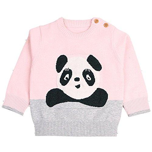 3-24 Monate Kleinkind Kinder Cartoon Panda Gestrick Pullover, DoraMe Neugeborenen Baby Jungen Mädchen Langarmpullover Mode Lässig Warmer Strickjacke (Rosa, 24 Monate) (Totenkopf-socken Schwarze)
