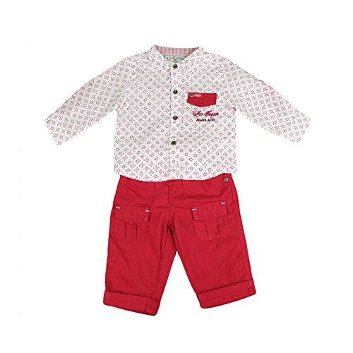 Lee Cooper - ensemble deux pièces chemise et pantalon à bretelle - bébé garçon - rouge