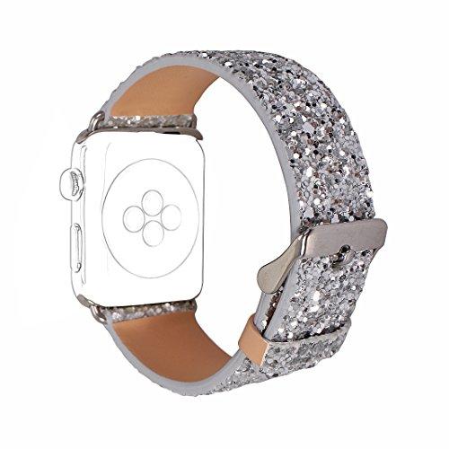 Für Apple Watch Armband 38mm, Rosa Schleife Apple Watch Series 3 Uhrenarmband Glitzer Leder Bands Shiny Ersatzband mit Schließe für Apple Watch 38mm alle Version Silber