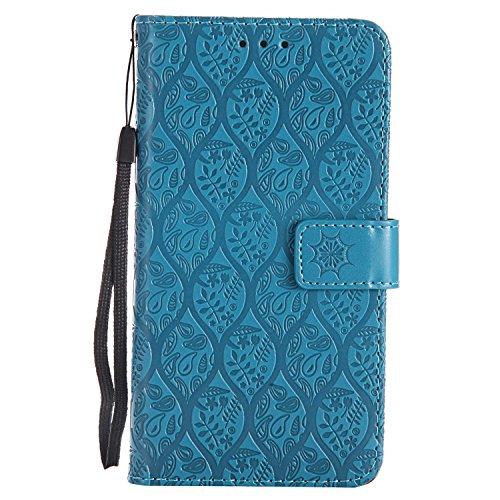 Dendico cover huawei p9 lite, flip libro portafoglio custodia in pelle per huawei p9 lite - blu
