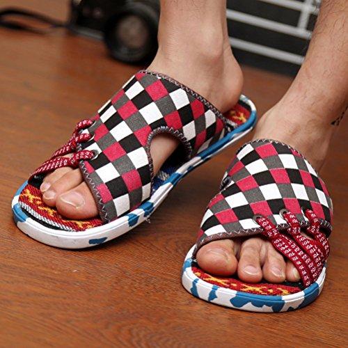 Vogstyle Herren Sommer Clogs und Pantoletten Schuhe Beach & Pool Mules Mode Schuhe Canvas Flach Sandalen Rot