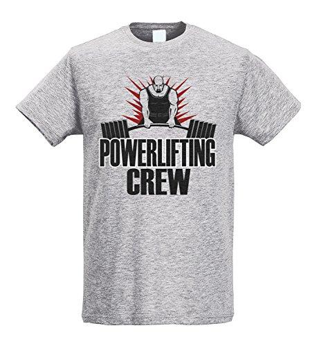 LaMAGLIERIA Camiseta Hombre Slim Powerlifting Crew Sp022 - Camiseta Fitness Bodybuilding 100% algodòn Ring Spun, L, Gris