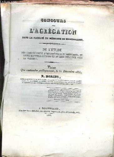 CONCOURS POUR L AGREGATION DANS LA FACULTE DE MEDECINE DE MONTPELLIER.