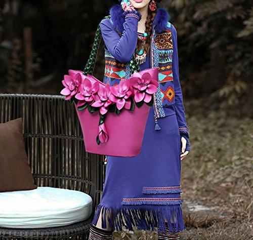 2017 Damen Handtasche Handtasche Retro-gewebte Blume Große Kapazität Schultertasche Frau Geprägt Reißverschluss Pink