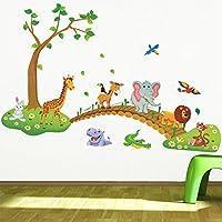 Çocuk Bebek Odası Dekorasyonu Duvar Dekoru Ağaç Köprü ve Hayvanlar PVC Duvar Sticker