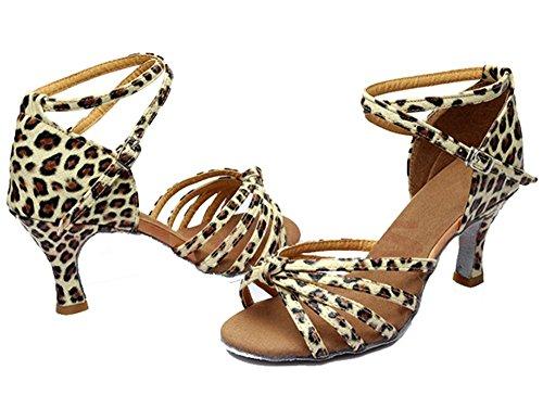 Minetom Femme Pour Dame Talon Bas Chaussures de Danse Paillettes Bout Rond Latin Lanière de Cheville Boucle Léopard
