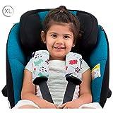 JANABEBE Gurtpolster Gurtpolster Set - universal für Babyschale, Buggy, Kinderwagen, Autositz (z.B. Maxi Cosi City SPS, Cabrio, Cybex Aton usw.) (DINO PARTY, XL)