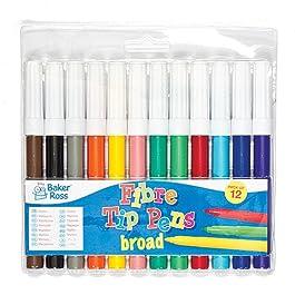 Baker Ross Pennarelli a Punta Grossa (Confezione da 12) Confezione Risparmio per Bambini per Disegnare e Colorare