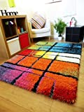NEW BRIGHT MULTI COLOURED MODERN MAT PATTERNED THICK NON SHED SHAGGY RUG 160 X 225 CM