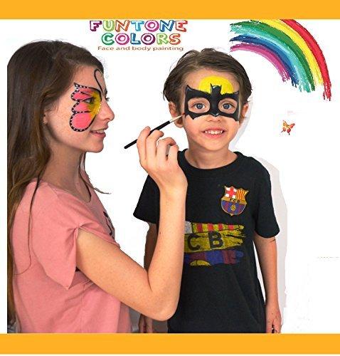 """Preisvergleich Produktbild Schminkfarben für Kinder , Gesicht Malerei ,GesichtFarbe Körperfarbe . Verwendet für Körperanstrich, Parteien, Halloween oder Kindverfassung. """"Funtone Color"""" Enthält Eine Palette von 8 Farben, Glitzer, Pinsel  Schwämme. Lasst die Feier Beginnen"""
