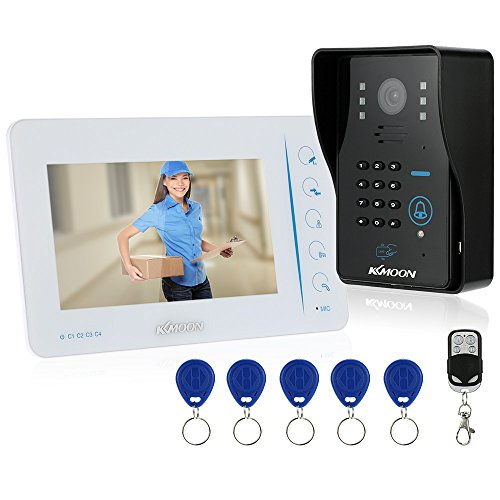 "KKmoon Door Intercom 7"" Wired Video Doorbell Door Phone System 4ch Video Input and 1ch Video Output for Door Entry Access Control TFT LCD Touch Button Visual Intercom Doorbell with 1 Monitor + 1 Camera + 5*RFID Cards + 1*Remote Control; Night View Rainproof Door Entry Access Control System"