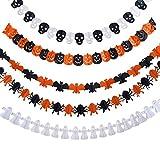 Oileus 5 pezzi Ghirlanda di Carta di Decorazione di Halloween con il Disegno del Zucca / Bat / Fantasma / Ragno / Cranio per Halloween Partito Décor