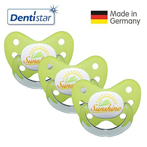 (Dentistar® Schnuller 3er Set- Nuckel Silikon in Größe 3, ab 14 Monate - zahnfreundlich & kiefergerecht - Beruhigungssauger für Babys - Gelb Little Sunshine)