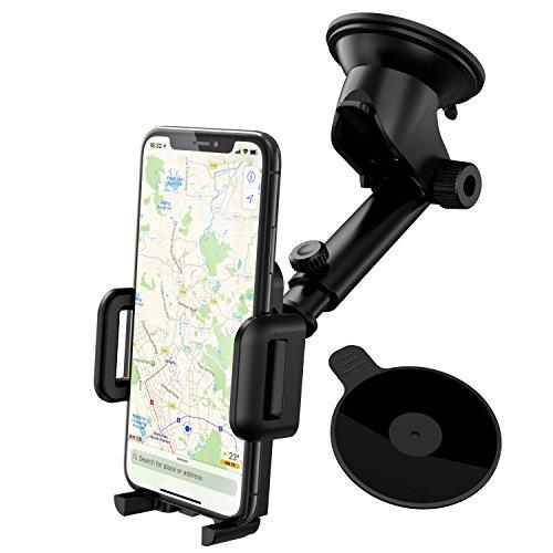 Mpow Supporto Telefono Auto per Cruscotto Regolabile, Supporto per Parabrezza con Forte Cuscinetto in Gel Adesivo e Disco di Montaggio Addizionale, per iPhone, Samsung, Google, Huawei, E