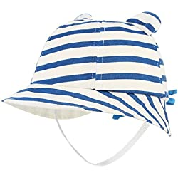 Cloudkids Cap Sombrero de Algodón con Rayas para Bebé Infantil Verano Playa 48CM