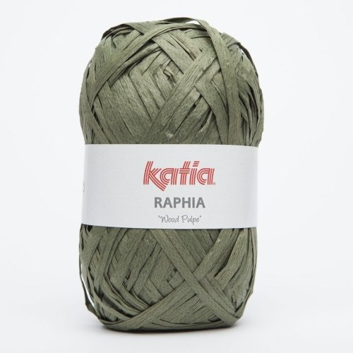 Katia Raphia Wood Pulpe - Farbe: Kaki (89) - 50 g / ca. 115 m Wolle  - Seide Stricken Tasche