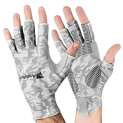 Anglatech Fliegenfischen Handschuhe für Damen und Herren, fingerlos, UV-Schutz UPF50+, Arktisblau, S/M