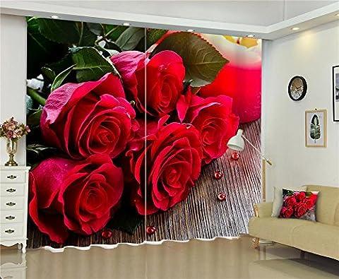 Rideaux 3D Roses rouges Impression digitale Tissus en polyester Tissus antidérapants Rideaux de rideaux thermiques massifs Rideaux de fenêtre thermiques solides Chambre Salon Décoration , wide 150x high 166 (wide 75x2)