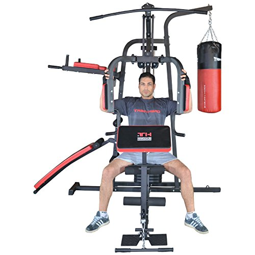 TrainHard® Kraftstation Multistation Fitnessstation Home Gym 65 kg Gewichten inkl. Dipstation Beinhebe, erweiterbar mit Sit Up Bank, Stepper, Push Up Bar, Boxsack mit Halterung, Speedball Plattform. (Kraftstation inkl. Dipstation, Beinhebe + Sit Up Bank, 80cm Boxsack & B.-Halterung)