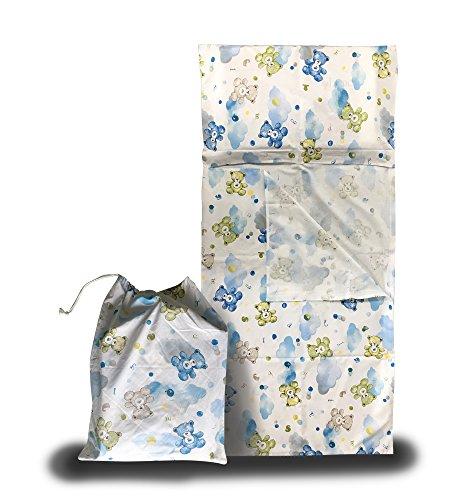 Set asilo estivo - orsetti e nuvole azzurro - sacco nanna + sacchetto asilo - 2-6 anni
