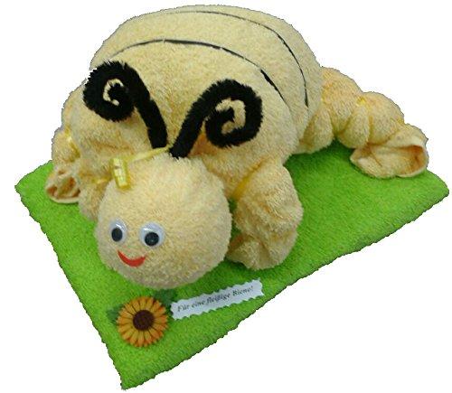 Frotteebox Geschenk Set Biene in Handarbeit geformt aus 1x Handtuch gelb (100x50cm) und 1x...