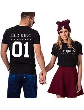 Couple Shirt King San Valentino 100% Cotone Queen T-Shirt Stampa 01 Manica Corta per 2 Maglietta per Donna Uomo...